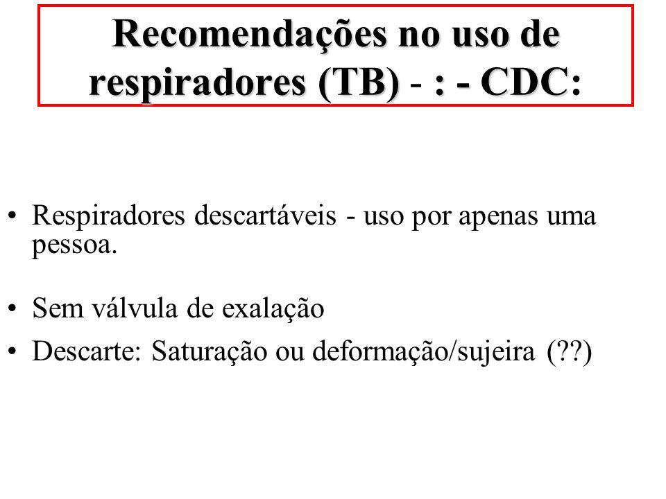 Recomendações no uso de respiradores (TB) - : - CDC: