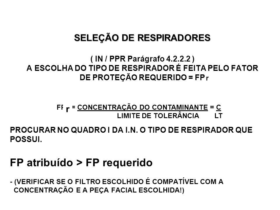 SELEÇÃO DE RESPIRADORES ( IN / PPR Parágrafo 4. 2. 2