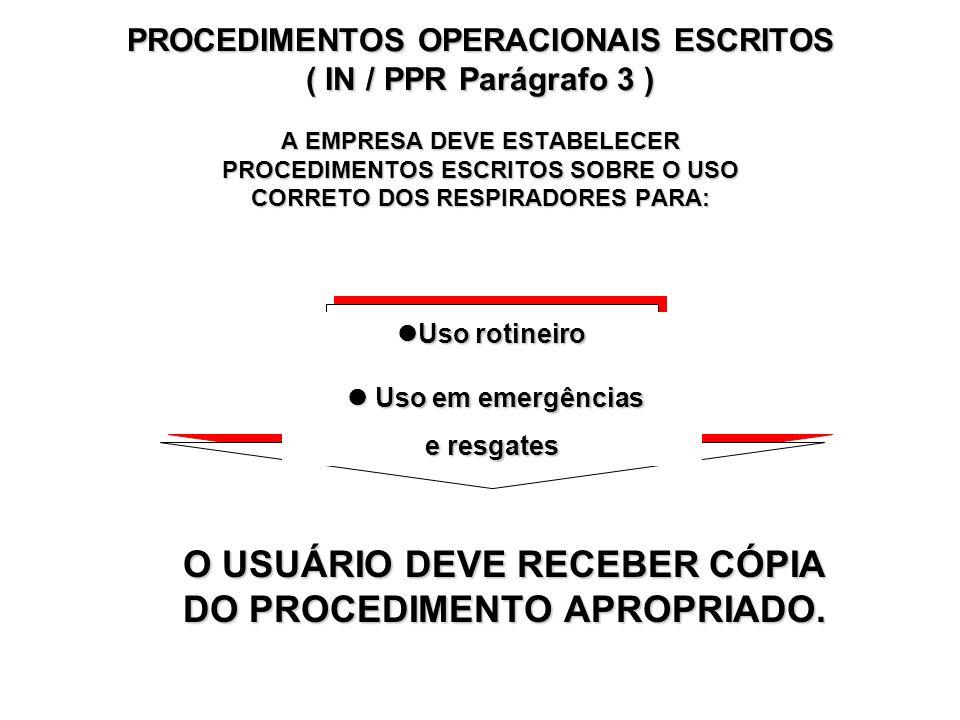 O USUÁRIO DEVE RECEBER CÓPIA DO PROCEDIMENTO APROPRIADO.