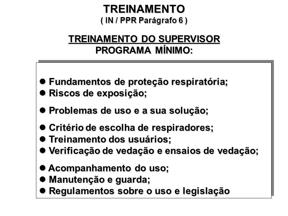 TREINAMENTO ( IN / PPR Parágrafo 6 ) TREINAMENTO DO SUPERVISOR PROGRAMA MÍNIMO: