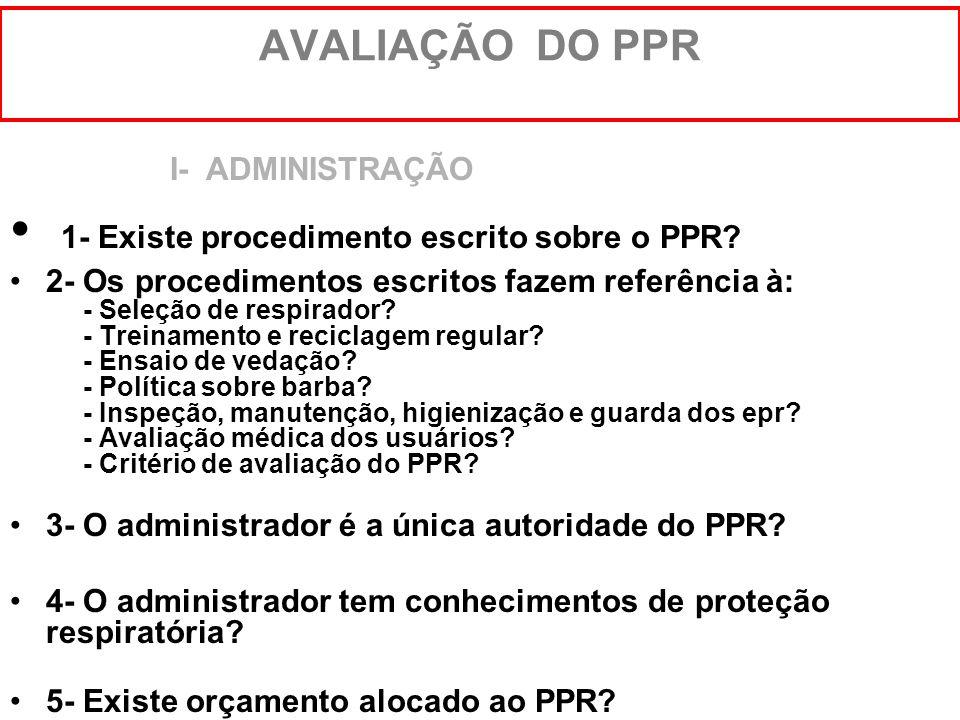 1- Existe procedimento escrito sobre o PPR