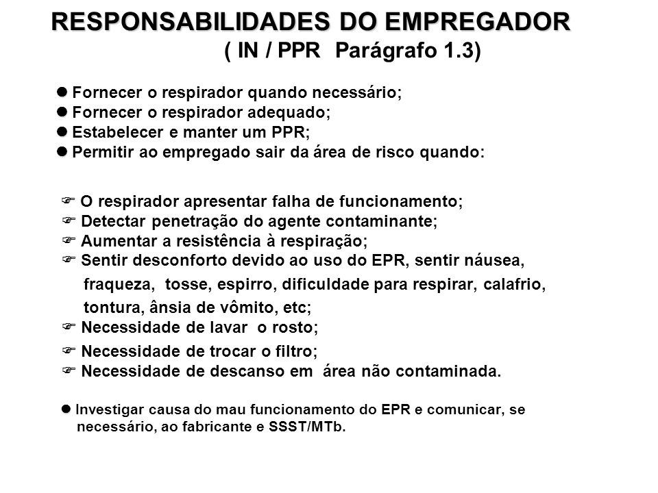 RESPONSABILIDADES DO EMPREGADOR ( IN / PPR Parágrafo 1