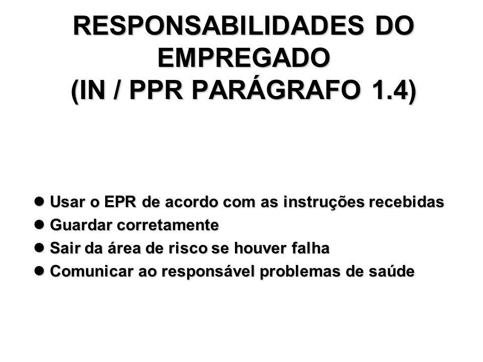 RESPONSABILIDADES DO EMPREGADO (IN / PPR PARÁGRAFO 1.4)