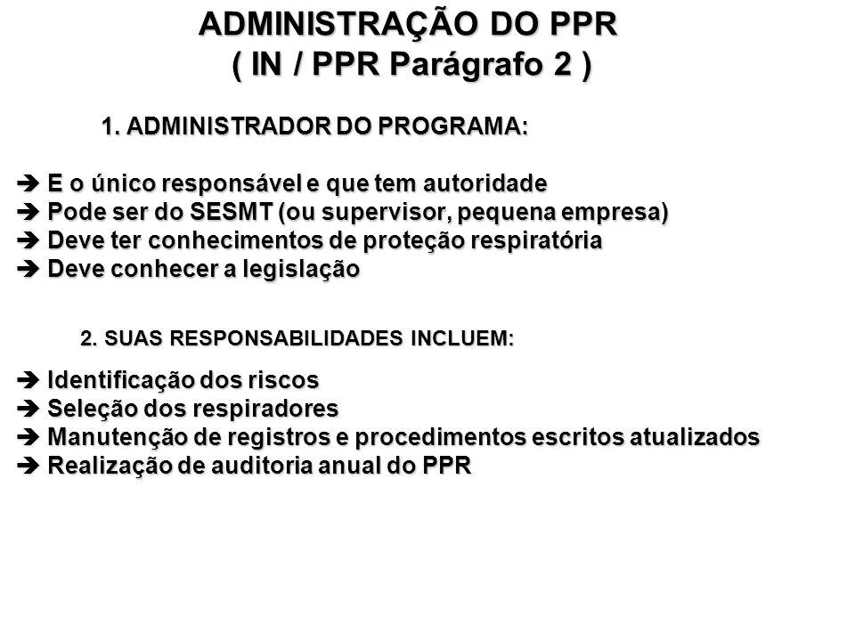 ADMINISTRAÇÃO DO PPR ( IN / PPR Parágrafo 2 ) 1