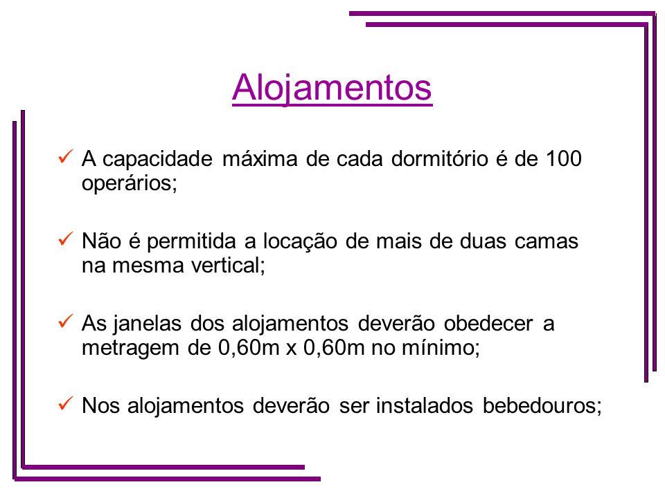 Alojamentos A capacidade máxima de cada dormitório é de 100 operários;