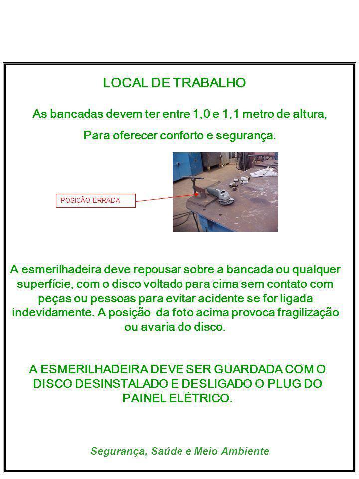 LOCAL DE TRABALHO. As bancadas devem ter entre 1,0 e 1,1 metro de altura, Para oferecer conforto e segurança.