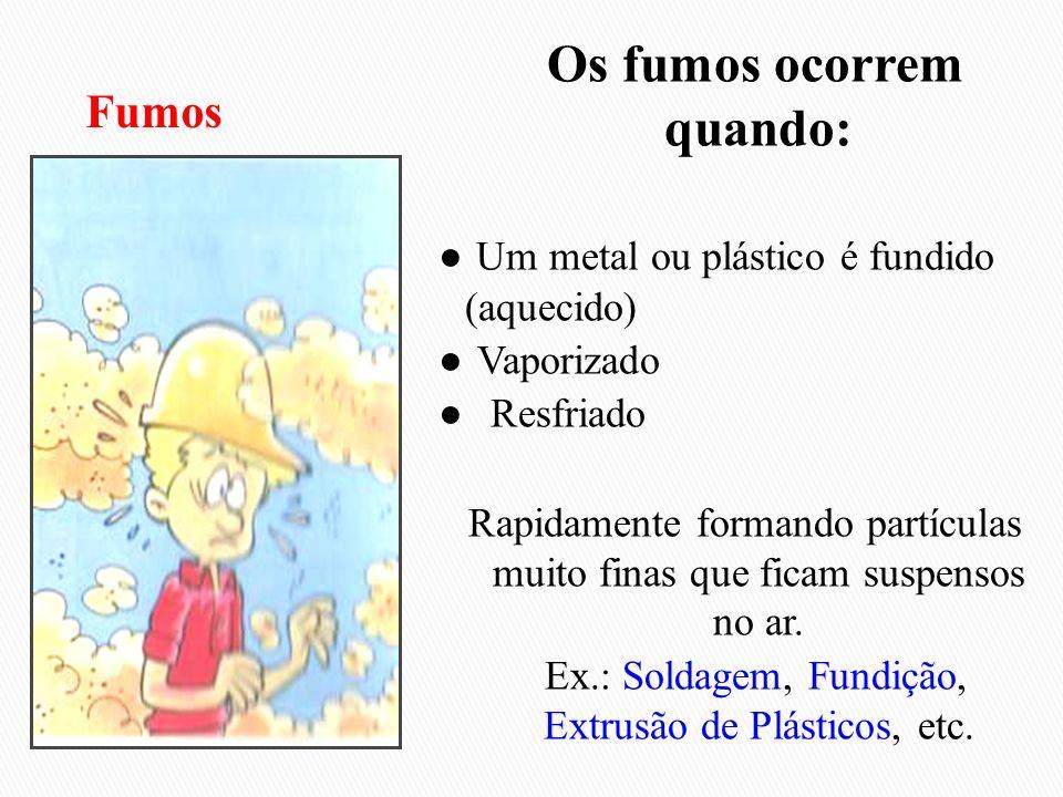 Os fumos ocorrem quando: ● Um metal ou plástico é fundido (aquecido) ● Vaporizado ● Resfriado Rapidamente formando partículas muito finas que ficam suspensos no ar. Ex.: Soldagem, Fundição, Extrusão de Plásticos, etc.