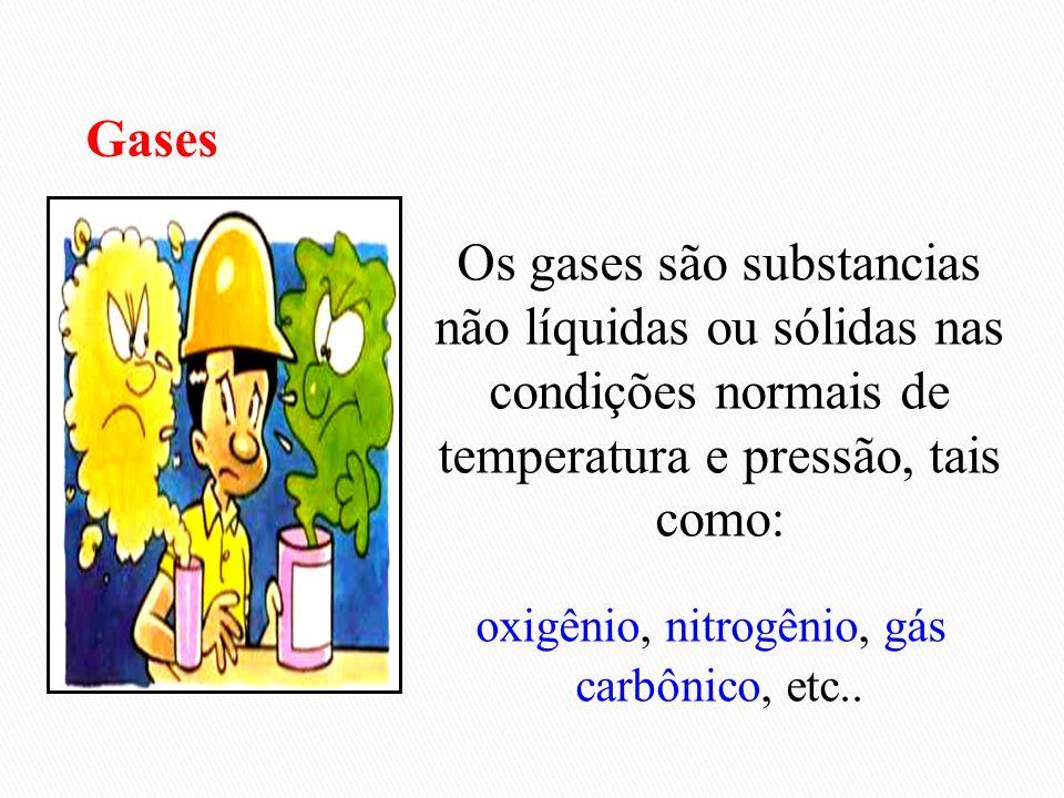 oxigênio, nitrogênio, gás carbônico, etc..