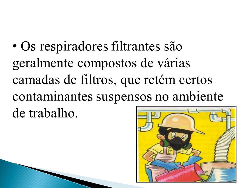 Os respiradores filtrantes são geralmente compostos de várias camadas de filtros, que retém certos contaminantes suspensos no ambiente de trabalho.
