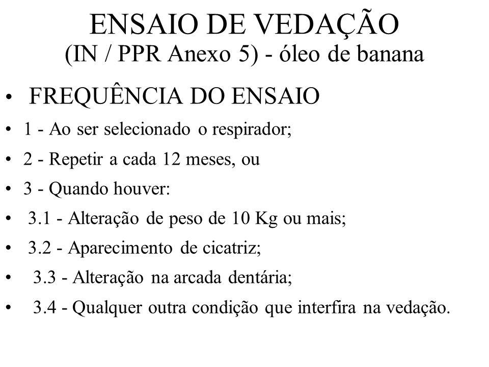 ENSAIO DE VEDAÇÃO (IN / PPR Anexo 5) - óleo de banana