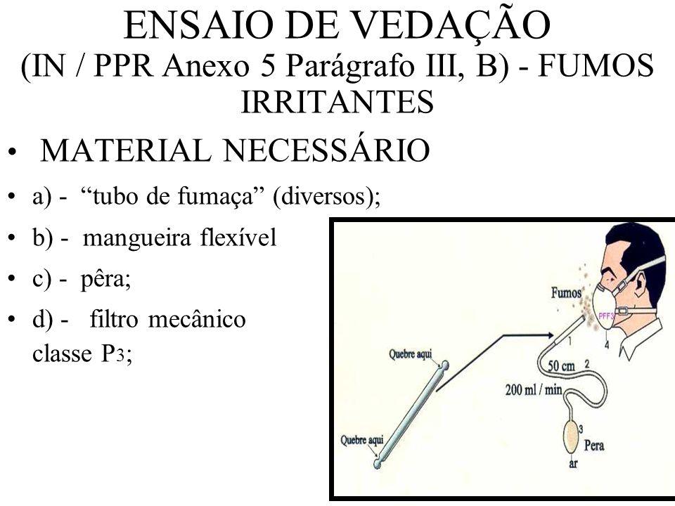 ENSAIO DE VEDAÇÃO (IN / PPR Anexo 5 Parágrafo III, B) - FUMOS IRRITANTES