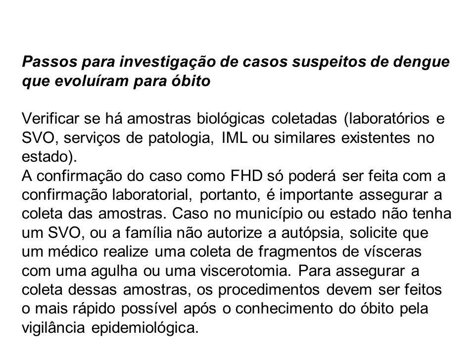 Passos para investigação de casos suspeitos de dengue que evoluíram para óbito Verificar se há amostras biológicas coletadas (laboratórios e SVO, serviços de patologia, IML ou similares existentes no estado).