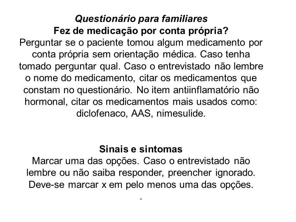 Questionário para familiares Fez de medicação por conta própria