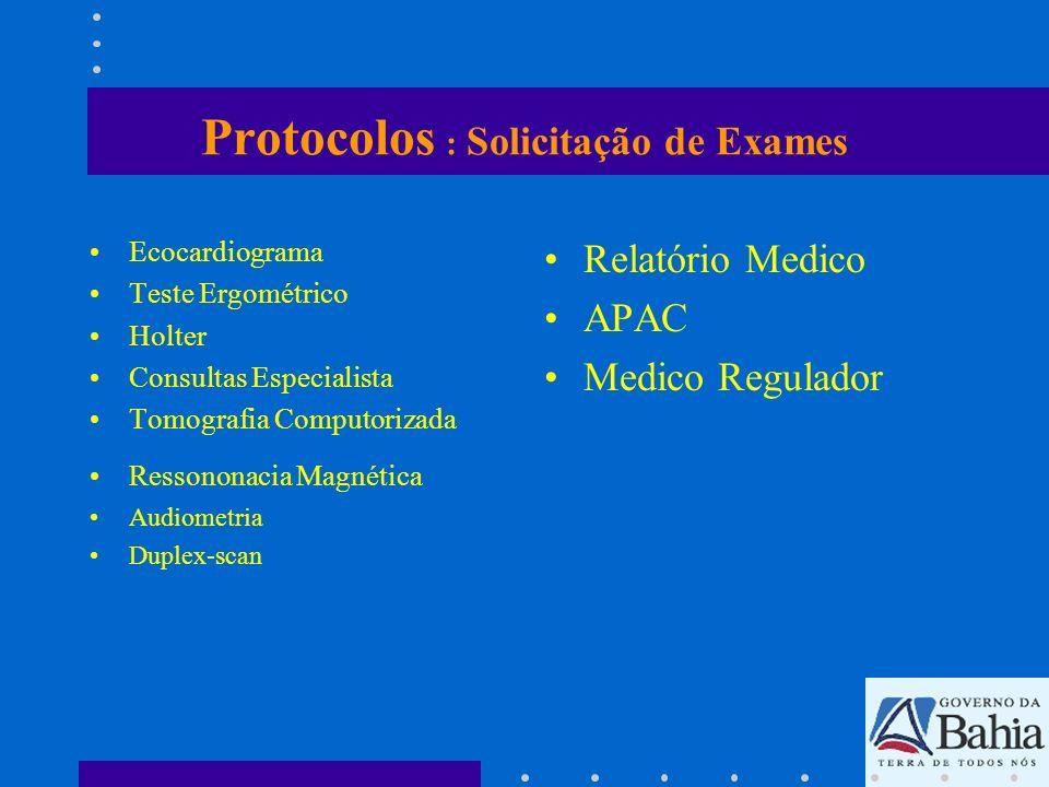 Protocolos : Solicitação de Exames