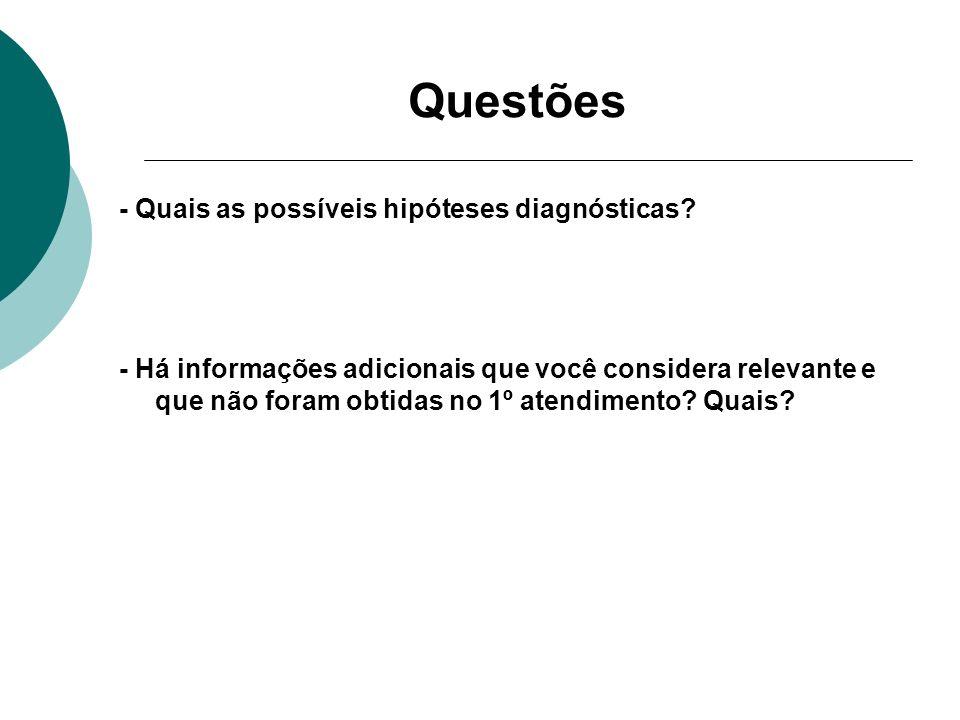 Questões - Quais as possíveis hipóteses diagnósticas