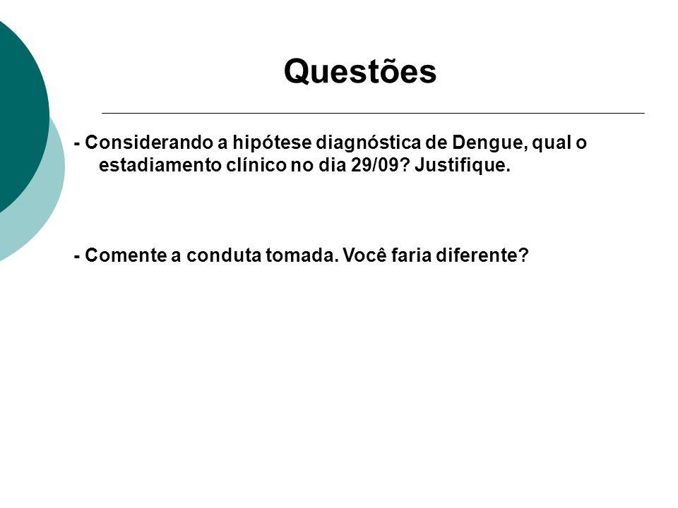 Questões - Considerando a hipótese diagnóstica de Dengue, qual o estadiamento clínico no dia 29/09 Justifique.