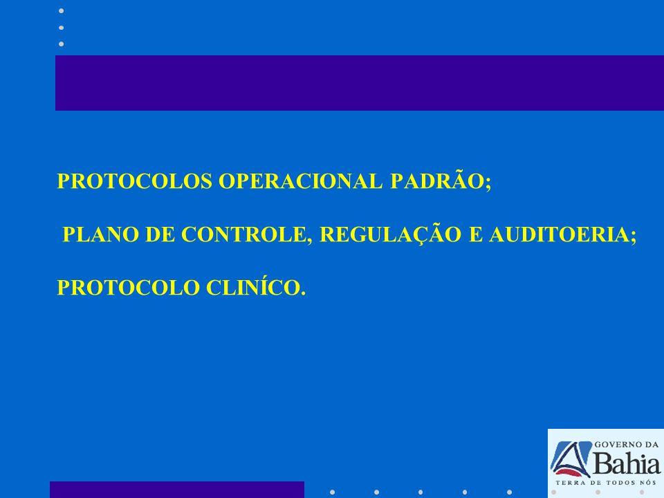 PROTOCOLOS OPERACIONAL PADRÃO; PLANO DE CONTROLE, REGULAÇÃO E AUDITOERIA; PROTOCOLO CLINÍCO.