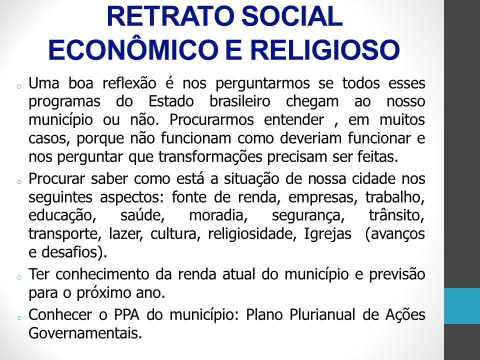 RETRATO SOCIAL ECONÔMICO E RELIGIOSO