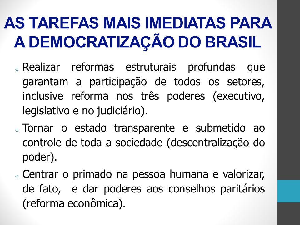 AS TAREFAS MAIS IMEDIATAS PARA A DEMOCRATIZAÇÃO DO BRASIL