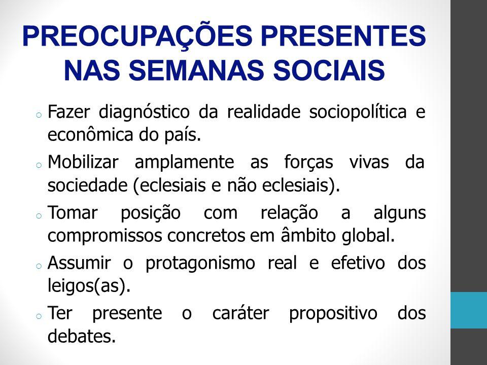 PREOCUPAÇÕES PRESENTES NAS SEMANAS SOCIAIS