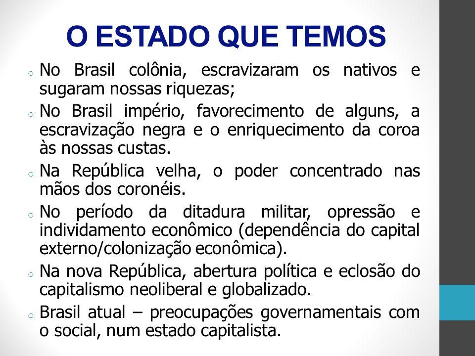 O ESTADO QUE TEMOSNo Brasil colônia, escravizaram os nativos e sugaram nossas riquezas;