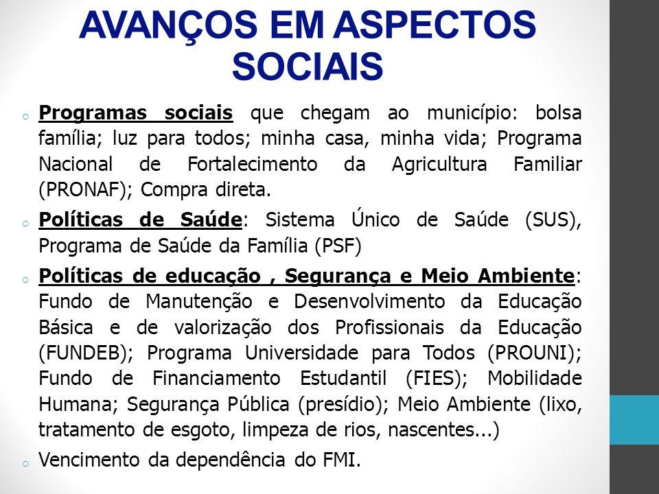 AVANÇOS EM ASPECTOS SOCIAIS