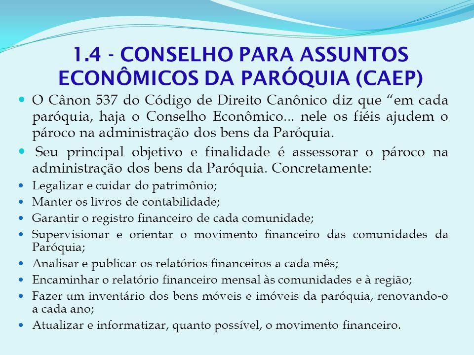 1.4 - CONSELHO PARA ASSUNTOS ECONÔMICOS DA PARÓQUIA (CAEP)