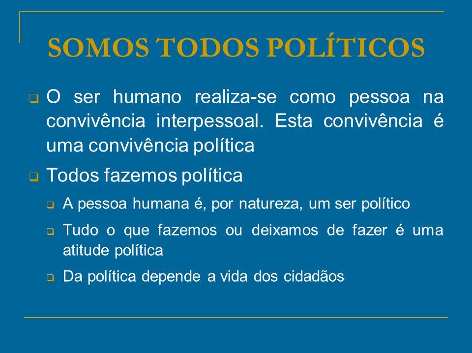 SOMOS TODOS POLÍTICOS O ser humano realiza-se como pessoa na convivência interpessoal. Esta convivência é uma convivência política.