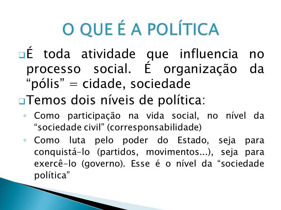 O QUE É A POLÍTICA É toda atividade que influencia no processo social. É organização da pólis = cidade, sociedade.