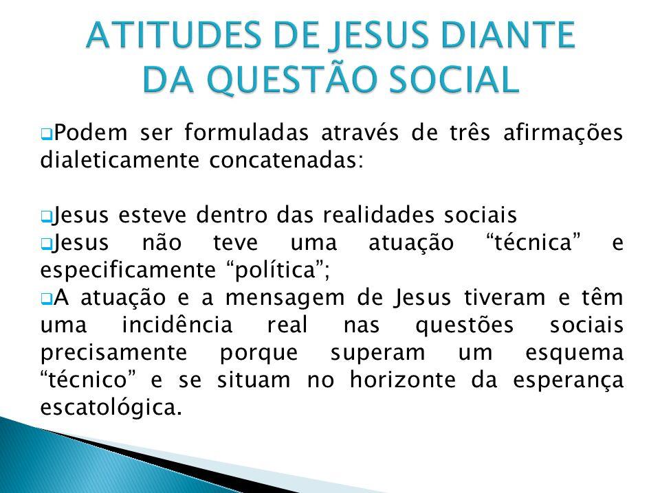 ATITUDES DE JESUS DIANTE DA QUESTÃO SOCIAL