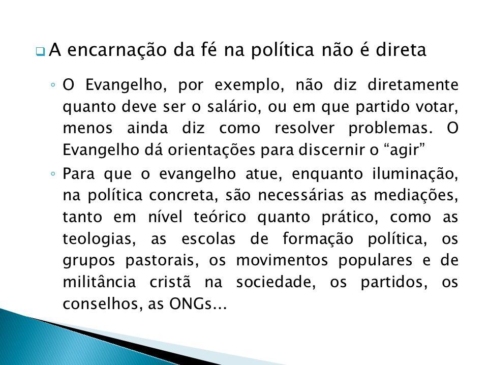 A encarnação da fé na política não é direta