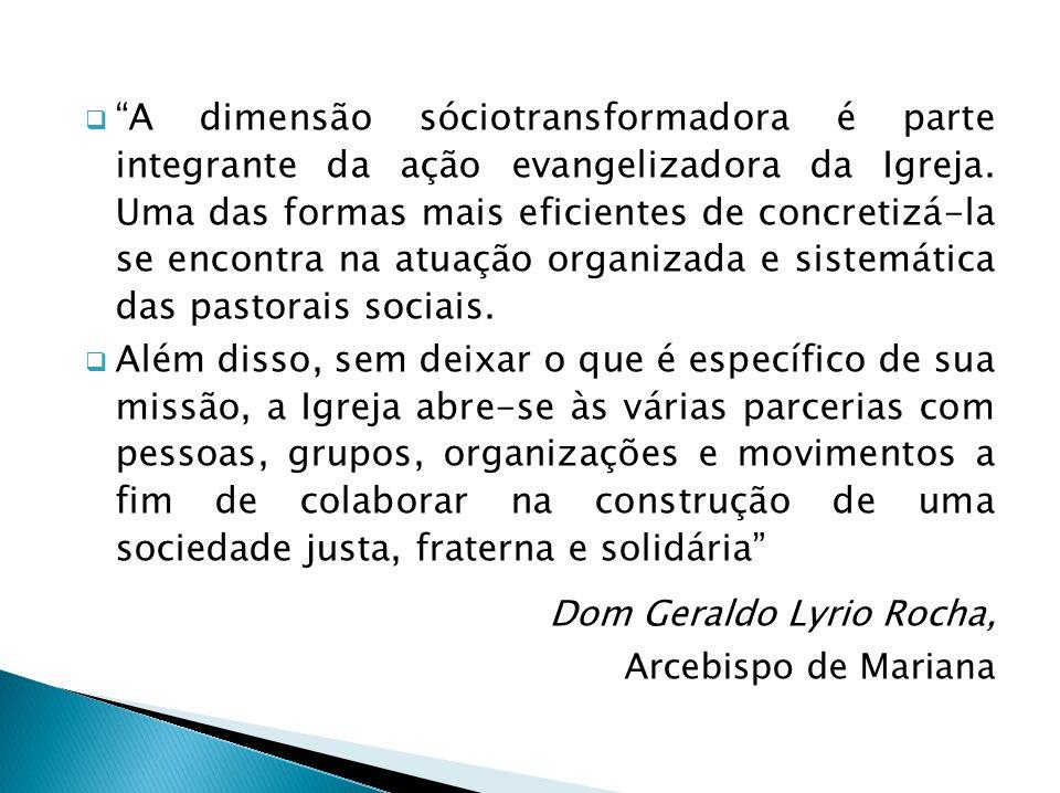 A dimensão sóciotransformadora é parte integrante da ação evangelizadora da Igreja. Uma das formas mais eficientes de concretizá-la se encontra na atuação organizada e sistemática das pastorais sociais.