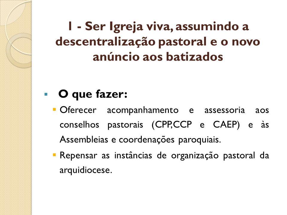 1 - Ser Igreja viva, assumindo a descentralização pastoral e o novo anúncio aos batizados