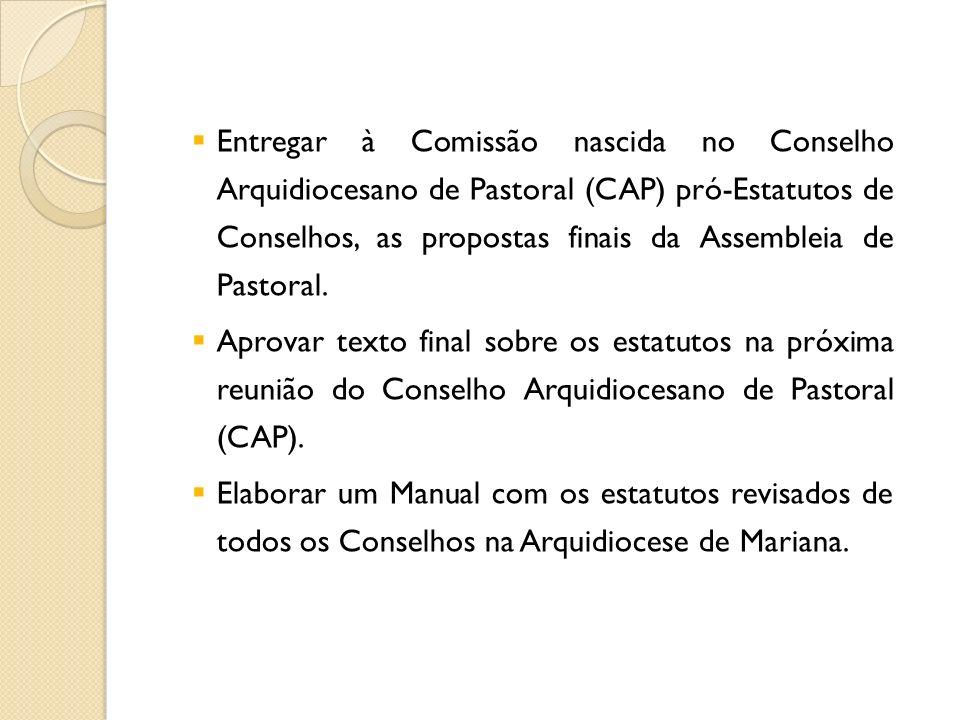 Entregar à Comissão nascida no Conselho Arquidiocesano de Pastoral (CAP) pró-Estatutos de Conselhos, as propostas finais da Assembleia de Pastoral.