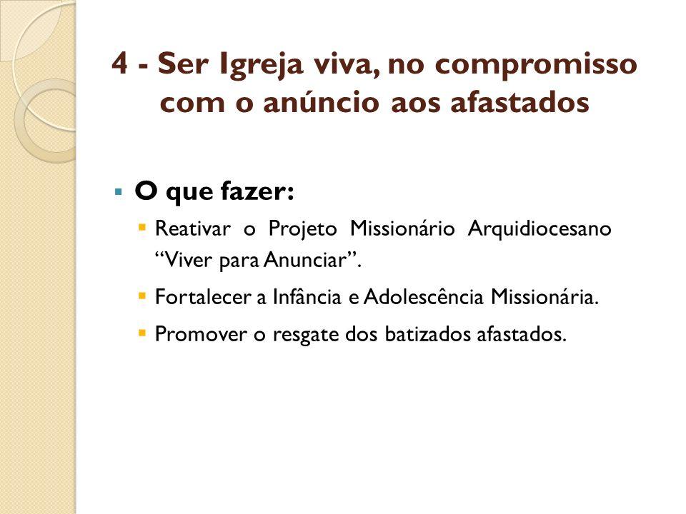 4 - Ser Igreja viva, no compromisso com o anúncio aos afastados