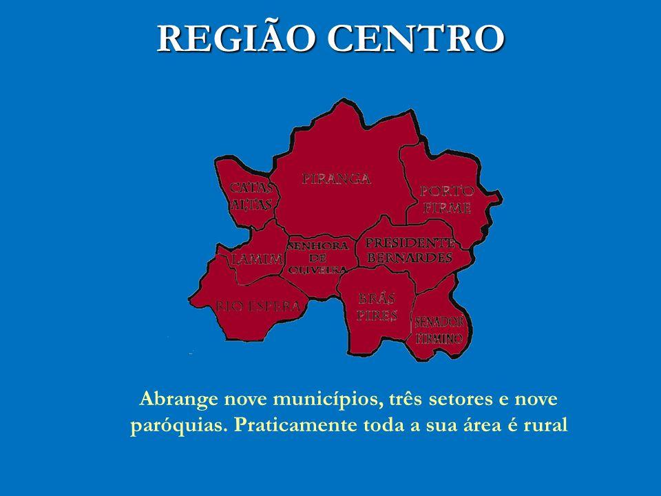 REGIÃO CENTRO Abrange nove municípios, três setores e nove paróquias.