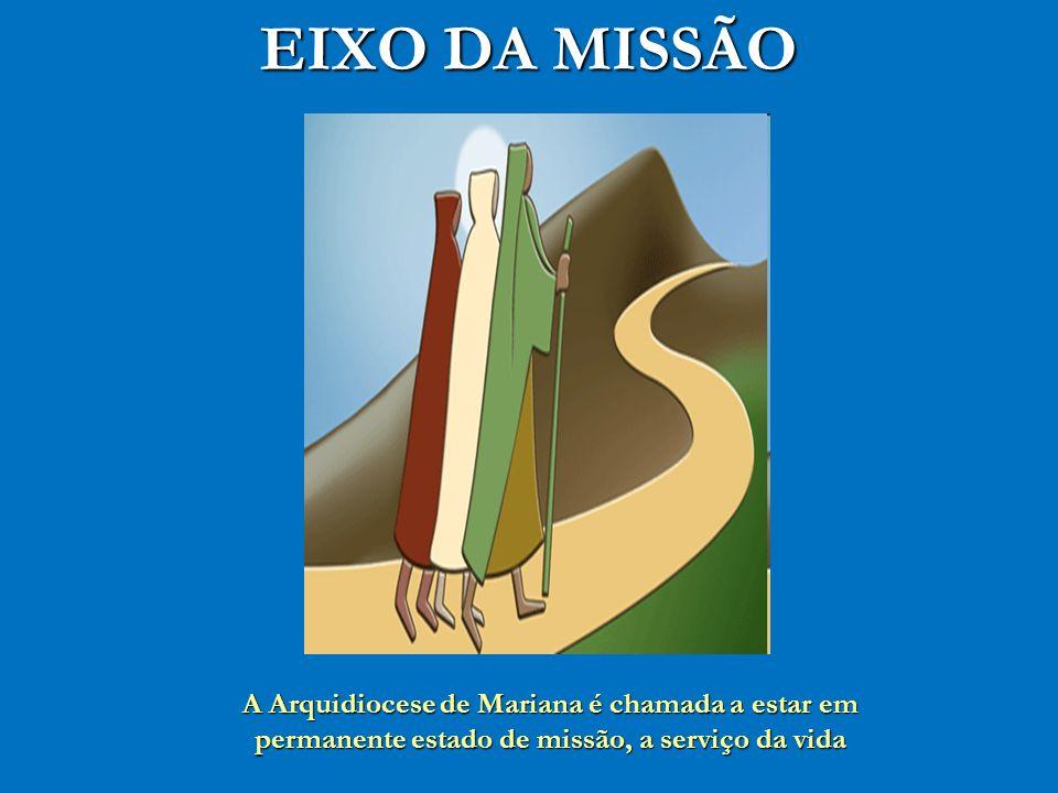 EIXO DA MISSÃO A Arquidiocese de Mariana é chamada a estar em permanente estado de missão, a serviço da vida.