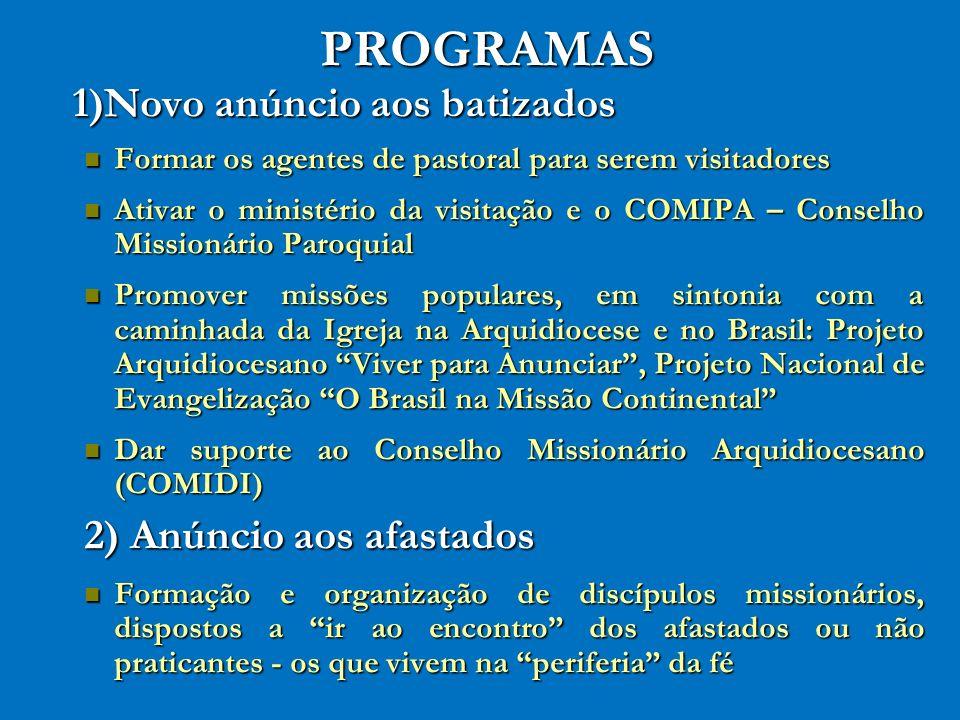 PROGRAMAS 1)Novo anúncio aos batizados 2) Anúncio aos afastados