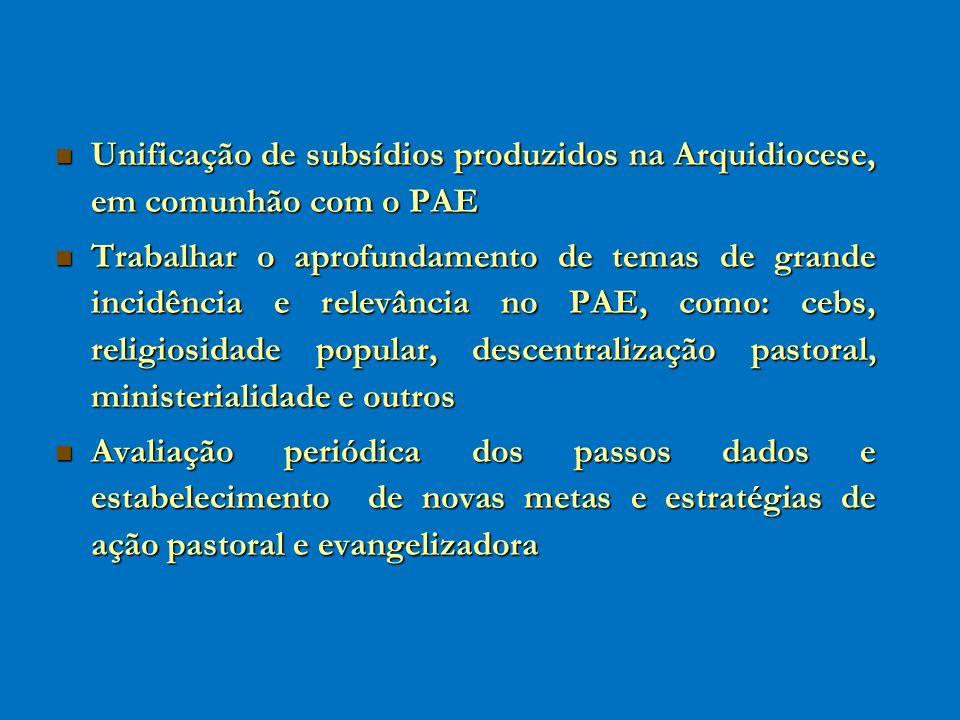 Unificação de subsídios produzidos na Arquidiocese, em comunhão com o PAE