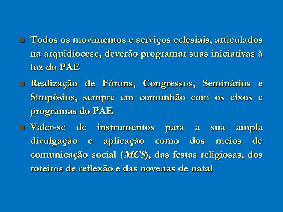 Todos os movimentos e serviços eclesiais, articulados na arquidiocese, deverão programar suas iniciativas à luz do PAE