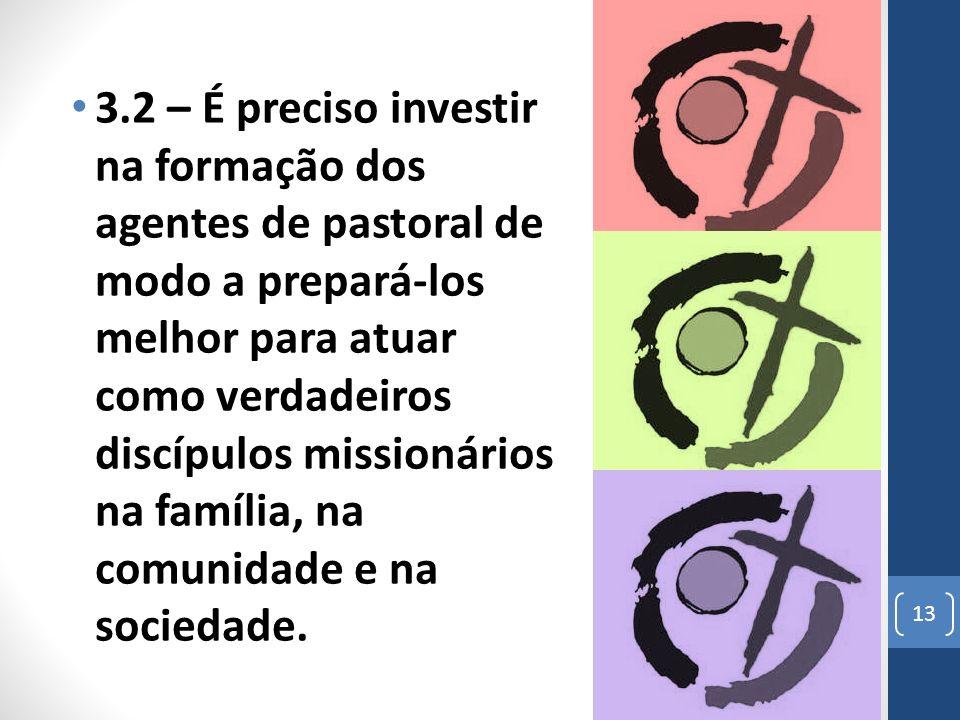3.2 – É preciso investir na formação dos agentes de pastoral de modo a prepará-los melhor para atuar como verdadeiros discípulos missionários na família, na comunidade e na sociedade.