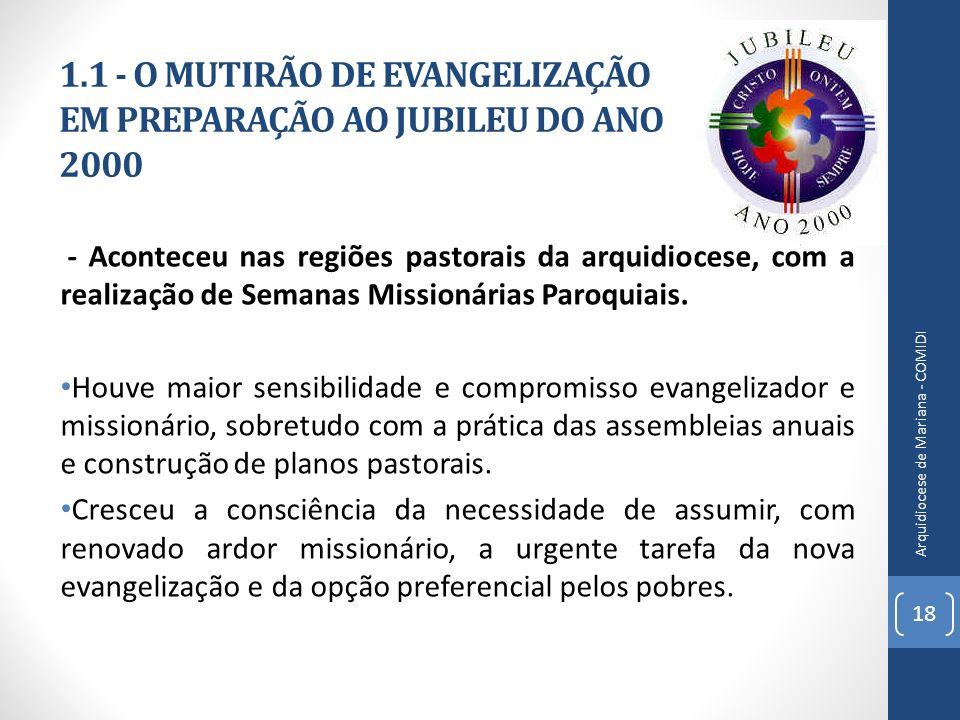 1.1 - O MUTIRÃO DE EVANGELIZAÇÃO EM PREPARAÇÃO AO JUBILEU DO ANO 2000