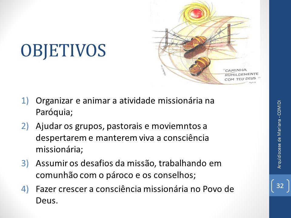 OBJETIVOS Organizar e animar a atividade missionária na Paróquia;