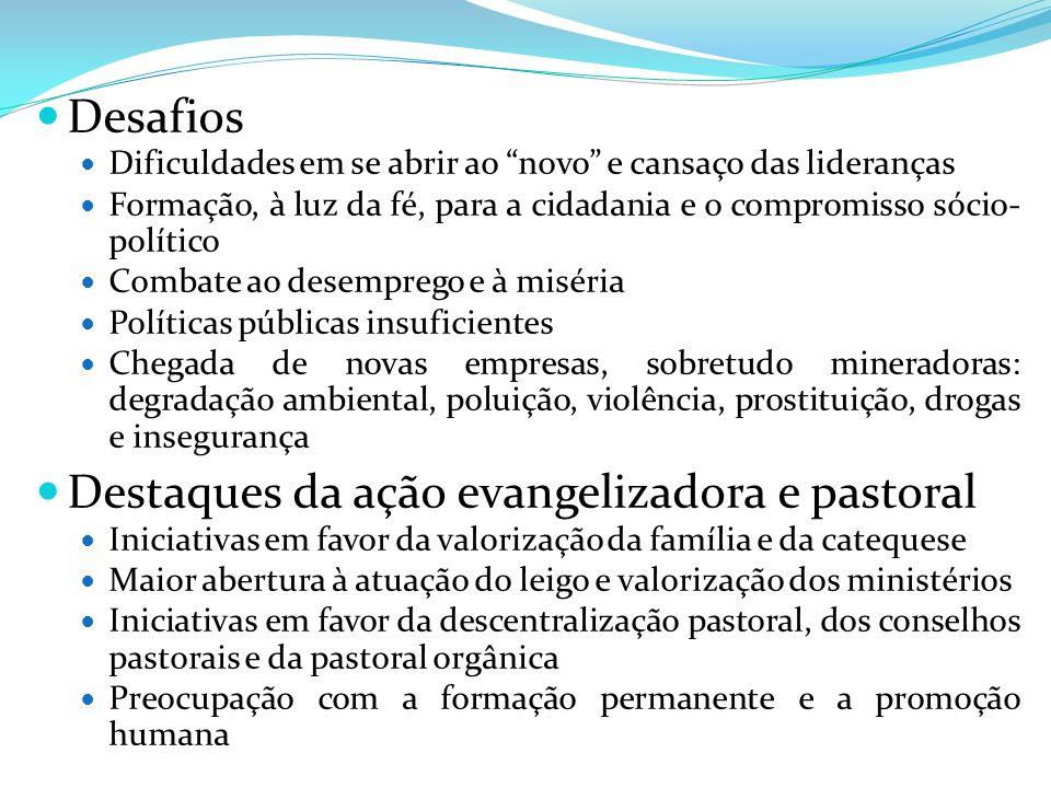 Destaques da ação evangelizadora e pastoral