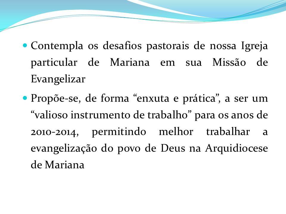 Contempla os desafios pastorais de nossa Igreja particular de Mariana em sua Missão de Evangelizar