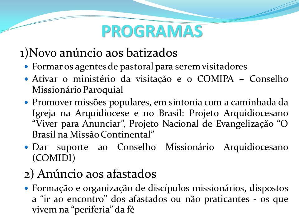 PROGRAMAS 2) Anúncio aos afastados 1)Novo anúncio aos batizados