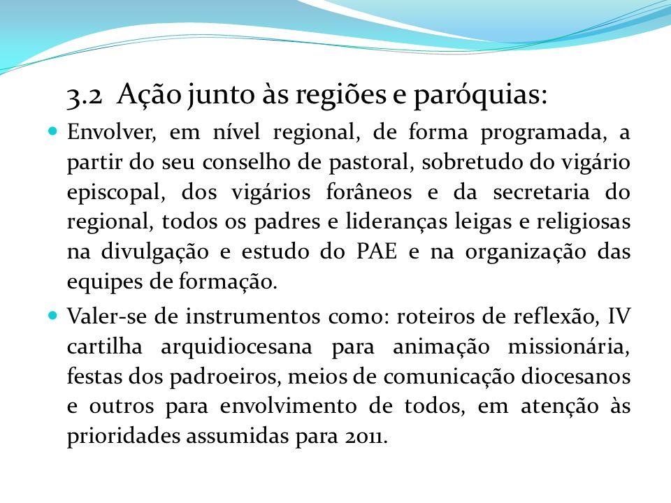 3.2 Ação junto às regiões e paróquias: