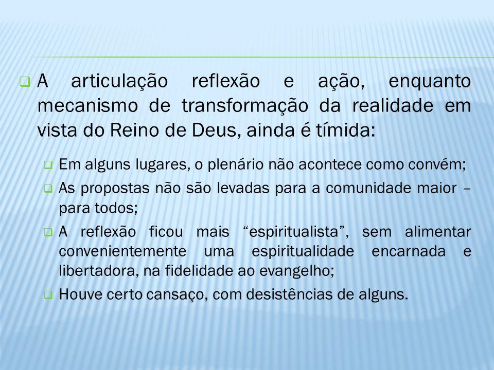 A articulação reflexão e ação, enquanto mecanismo de transformação da realidade em vista do Reino de Deus, ainda é tímida: