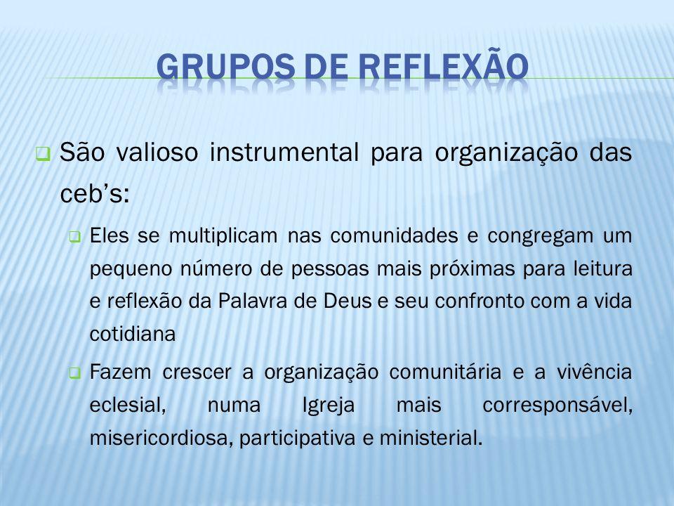Grupos de ReflexãoSão valioso instrumental para organização das ceb's: