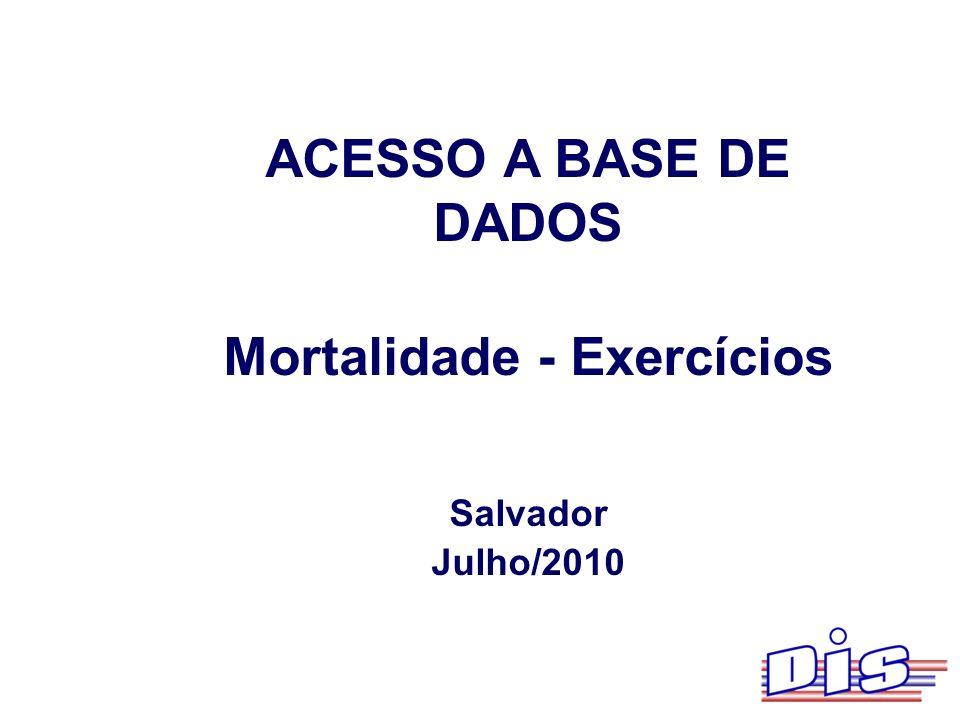 Mortalidade - Exercícios
